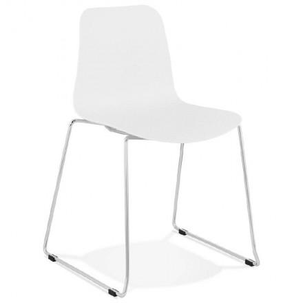 Moderner Stuhl ALIX Fuß verchromt Metall (weiß)