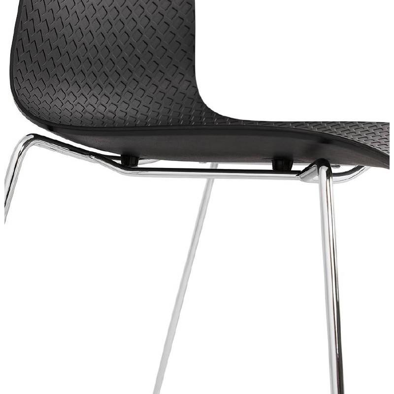 Chaise Moderne Empilable ALIX Pieds Mtal Chrom Noir