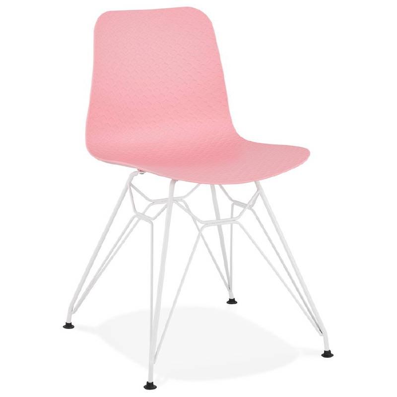 Design and modern Chair in polypropylene feet white metal (Pink)