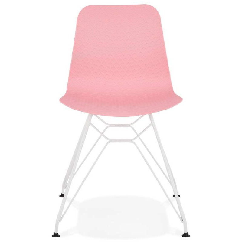 Design and modern Chair in polypropylene feet white metal (Pink) - image 39271