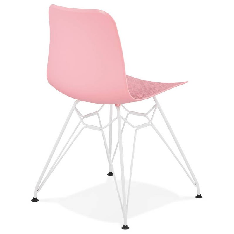 Design and modern Chair in polypropylene feet white metal (Pink) - image 39273