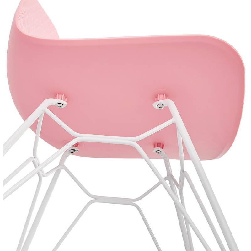 Design and modern Chair in polypropylene feet white metal (Pink) - image 39277