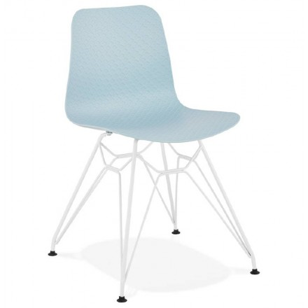 Design and modern Chair in polypropylene feet (blue) white metal