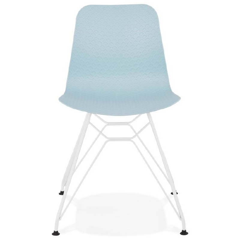 Design and modern Chair in polypropylene feet (blue) white metal - image 39282