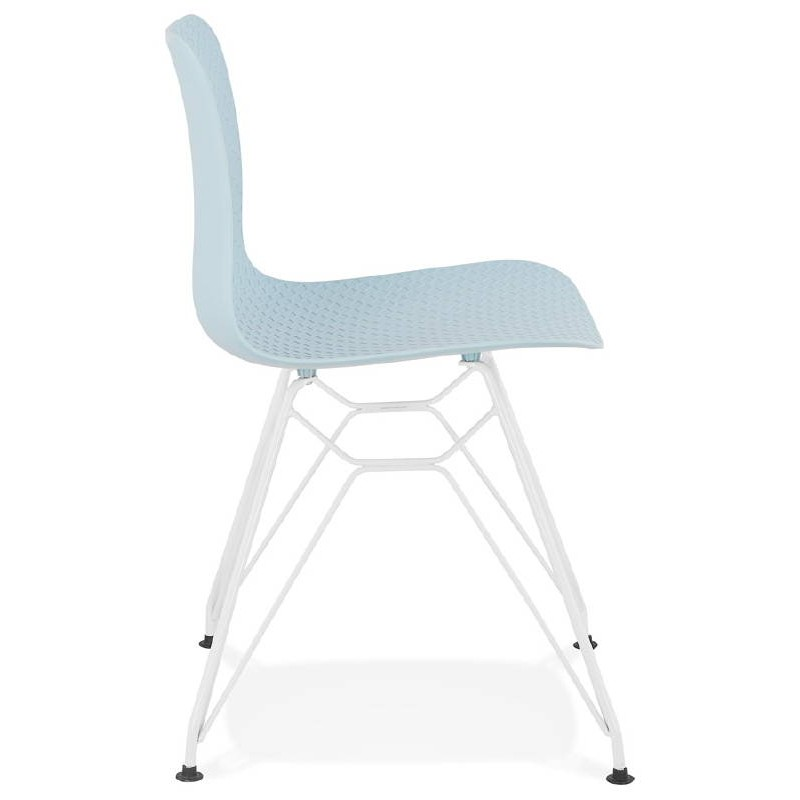 Design and modern Chair in polypropylene feet (blue) white metal - image 39283