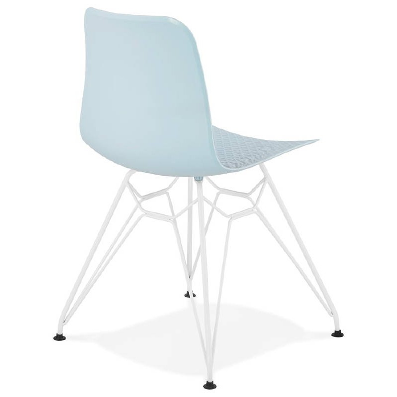 Design and modern Chair in polypropylene feet (blue) white metal - image 39284