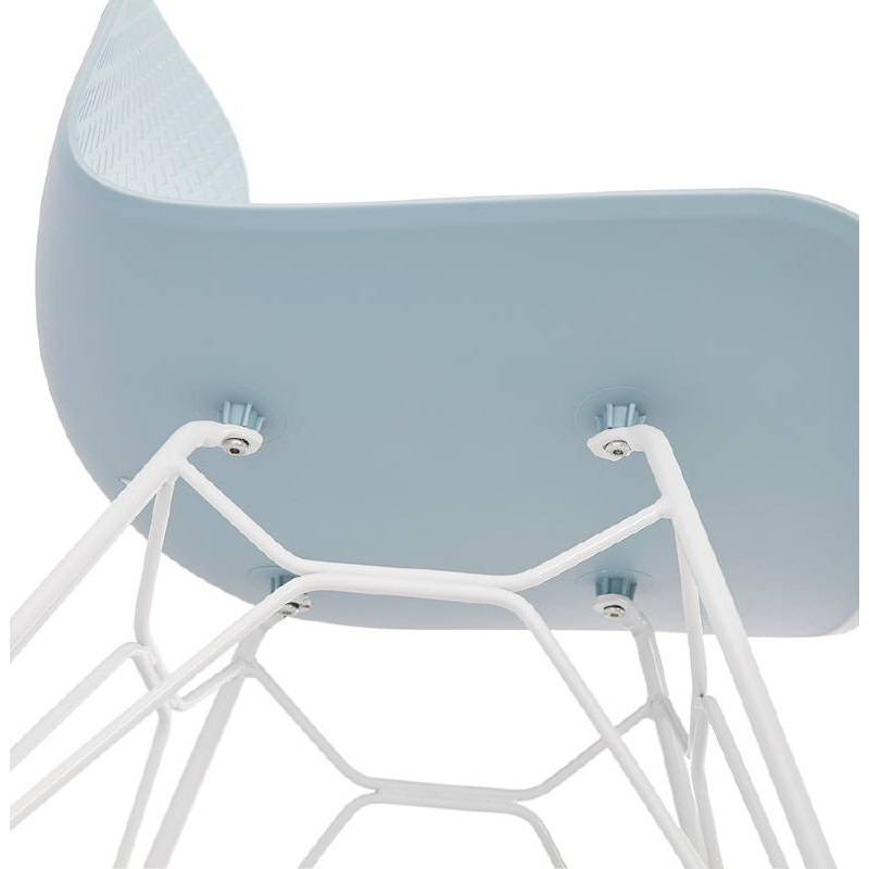 Design and modern Chair in polypropylene feet (blue) white metal - image 39289