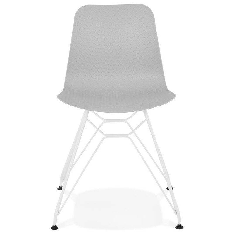 Design and modern Chair in polypropylene feet white metal (light gray) - image 39294