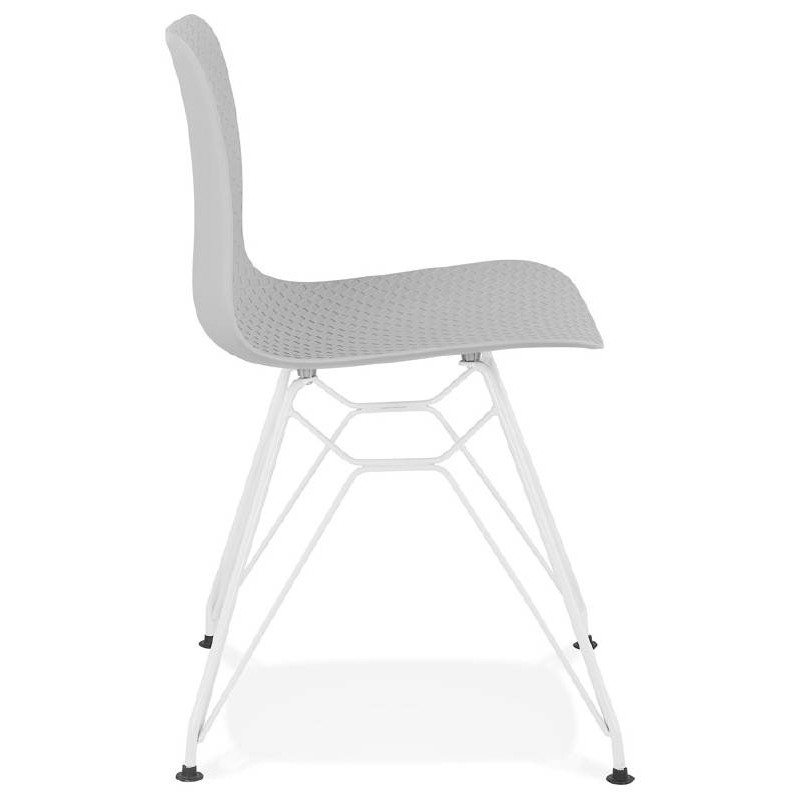 Design and modern Chair in polypropylene feet white metal (light gray) - image 39295
