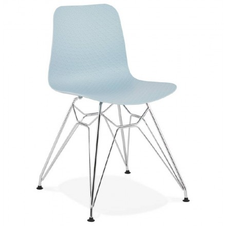 Design and industrial chair from polypropylene (sky blue) chrome metal legs