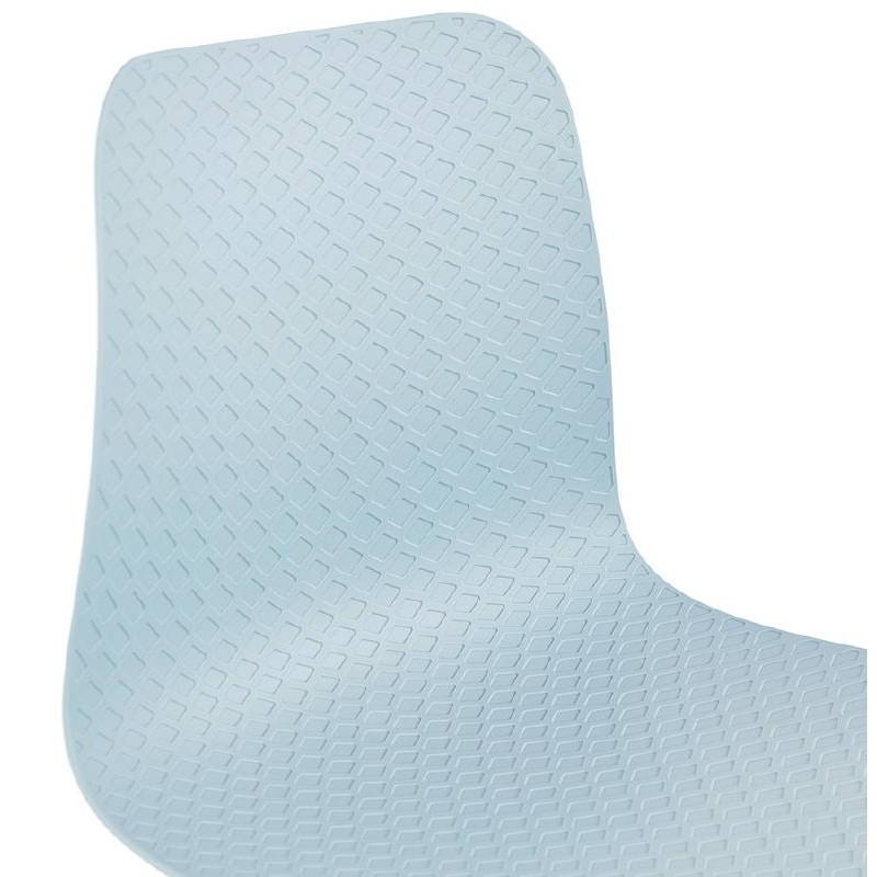 Design und industrielle Stuhl aus Polypropylen (himmelblau) verchromte Metallbeine - image 39322
