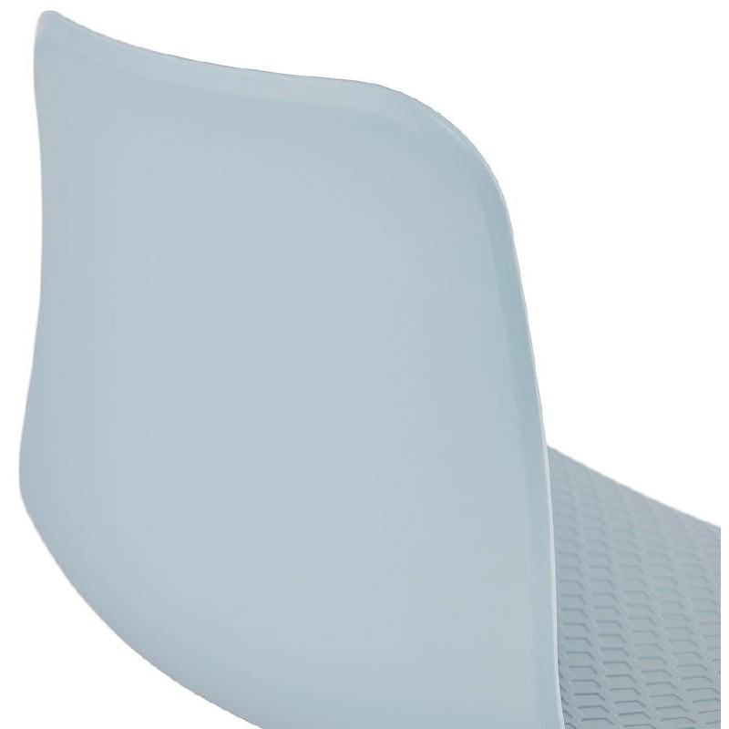 Design und industrielle Stuhl aus Polypropylen (himmelblau) verchromte Metallbeine - image 39324