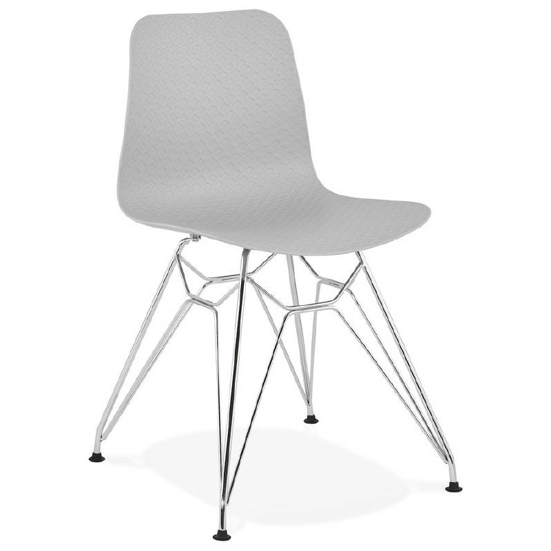 Design and industrial chair from polypropylene feet chrome metal (light gray) - image 39330