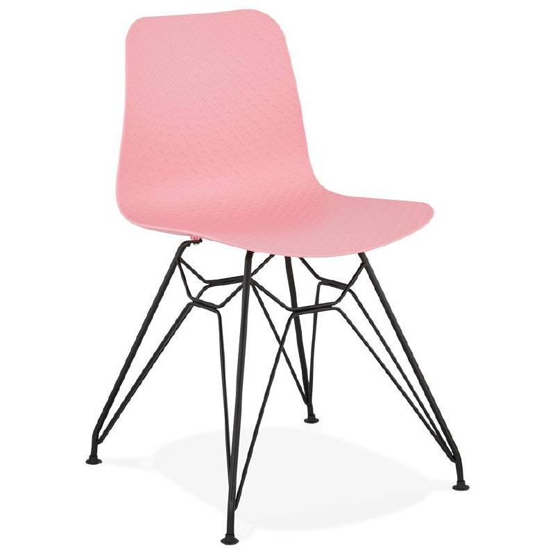Chaise design et industrielle VENUS pieds métal noir (rose) - image 39343
