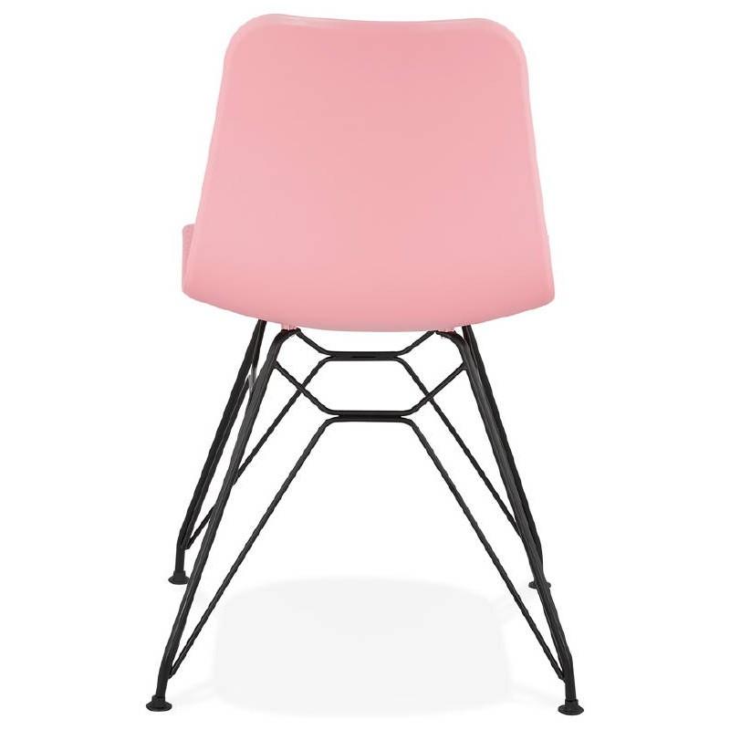 Chaise design et industrielle VENUS pieds métal noir (rose) - image 39347