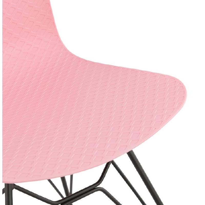 Chaise design et industrielle VENUS pieds métal noir (rose) - image 39349