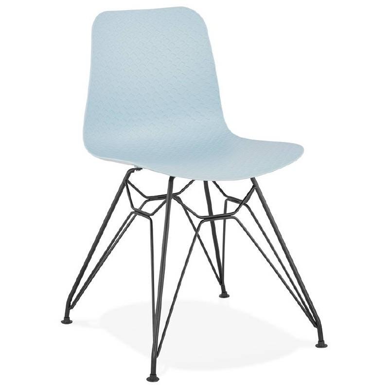 Design and industrial chair VENUS feet (sky blue) black metal
