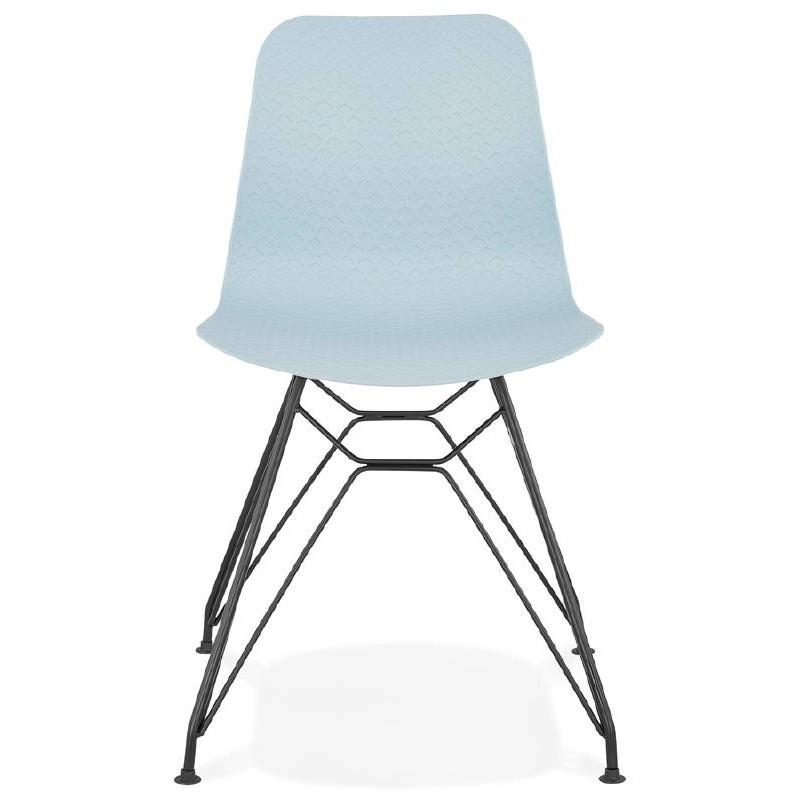 Design and industrial chair VENUS feet (sky blue) black metal - image 39357