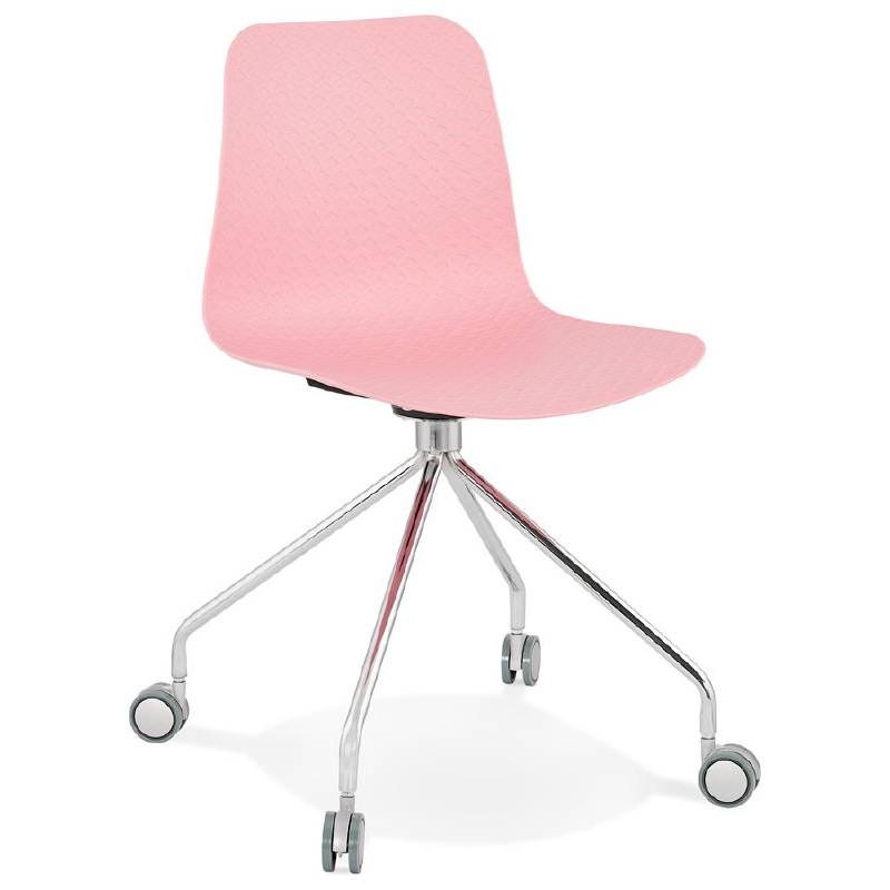 Bürostuhl auf Rädern JANICE Polypropylen Füße Chrom Metall (rosa)
