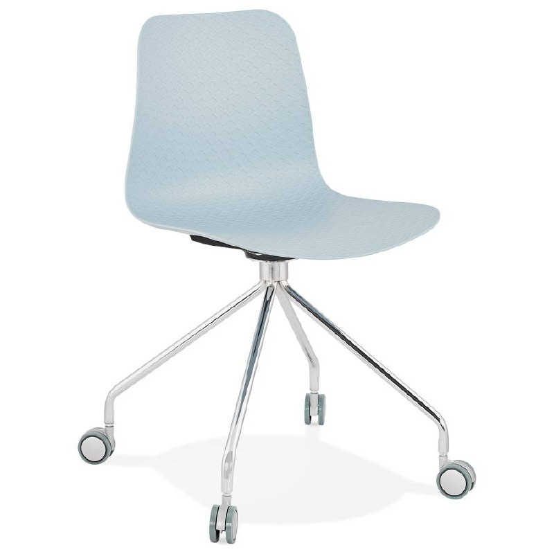 Office Chair on wheels JANICE polypropylene feet chrome metal (blue sky) - image 39394