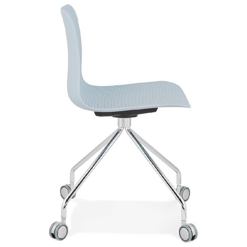 Office Chair on wheels JANICE polypropylene feet chrome metal (blue sky) - image 39396