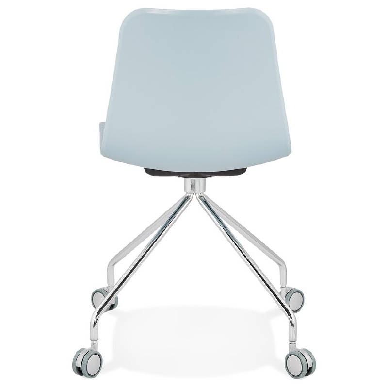 Office Chair on wheels JANICE polypropylene feet chrome metal (blue sky) - image 39398