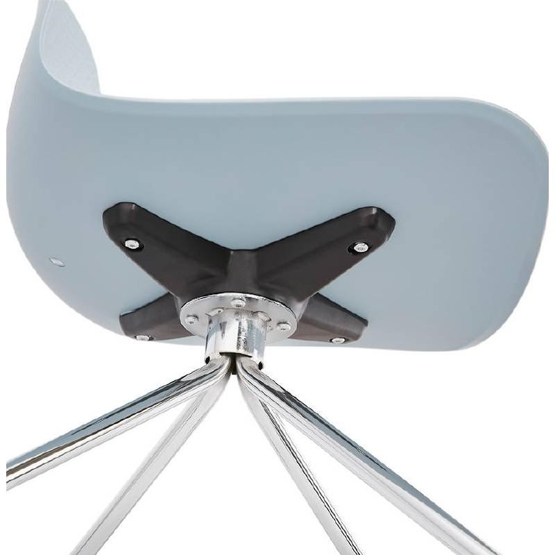 Office Chair on wheels JANICE polypropylene feet chrome metal (blue sky) - image 39402