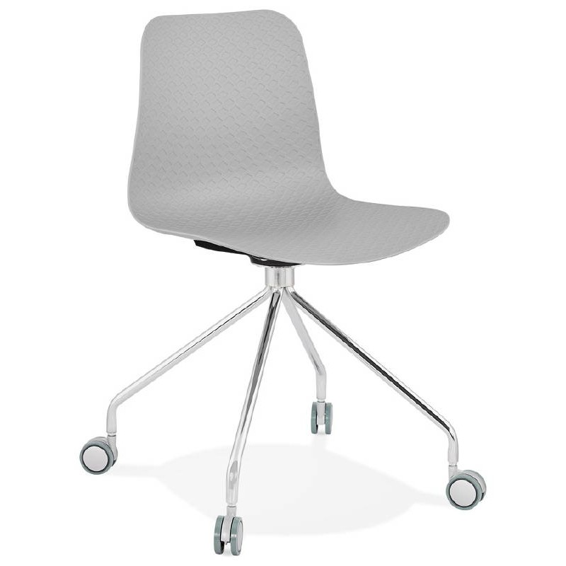 Office Chair on wheels JANICE polypropylene feet chrome metal (light gray)