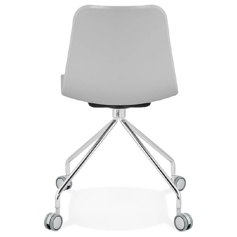 Office Chair on wheels JANICE polypropylene feet chrome metal (light gray) - image 39411