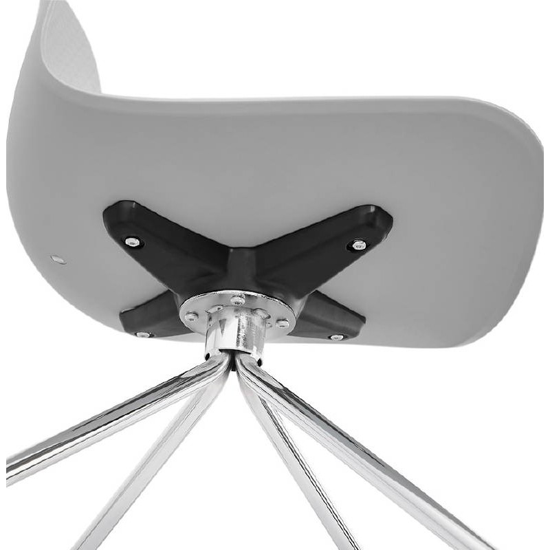 Office Chair on wheels JANICE polypropylene feet chrome metal (light gray) - image 39415