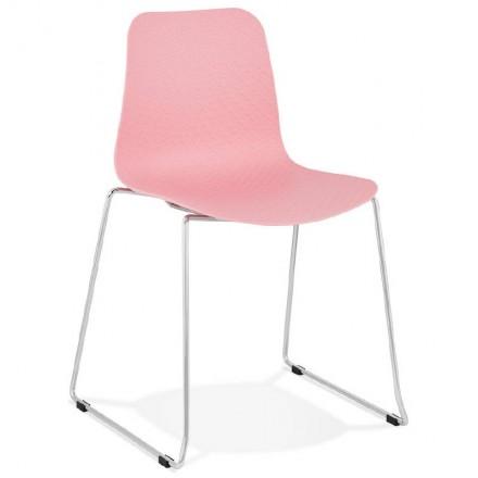 Modern Chair ALIX foot chromed metal (Pink)
