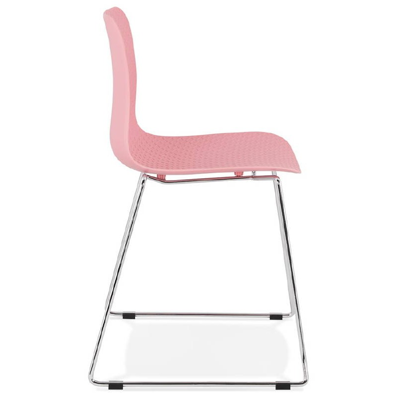 Modern Chair ALIX foot chromed metal (Pink) - image 39422