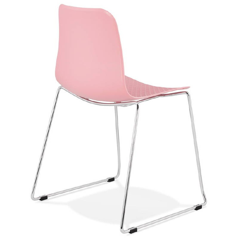 Modern Chair ALIX foot chromed metal (Pink) - image 39423