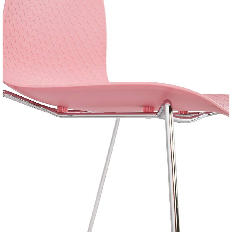 Modern Chair ALIX foot chromed metal (Pink) - image 39427