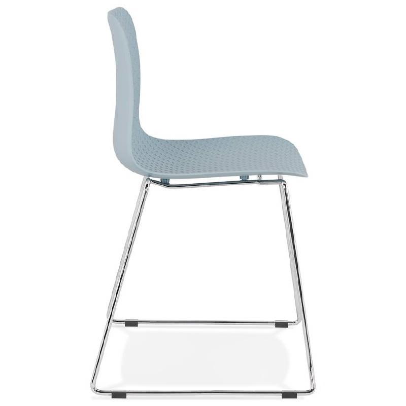 Chaise moderne empilable ALIX pieds métal chromé (bleu ciel) - image 39433