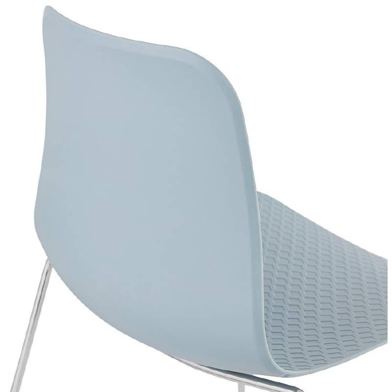 Chaise moderne empilable ALIX pieds métal chromé (bleu ciel) - image 39439