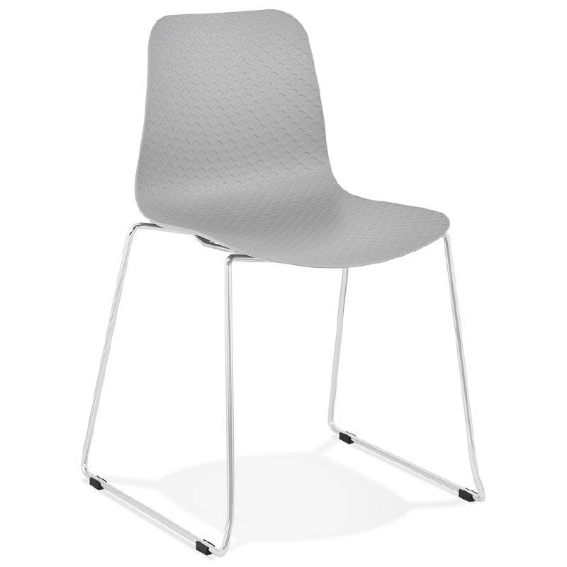 Modern Chair ALIX foot chromed metal (light gray)