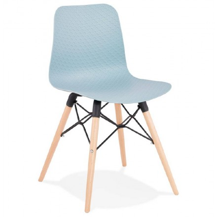 Chaise Design Scandinave CANDICE Bleu Ciel