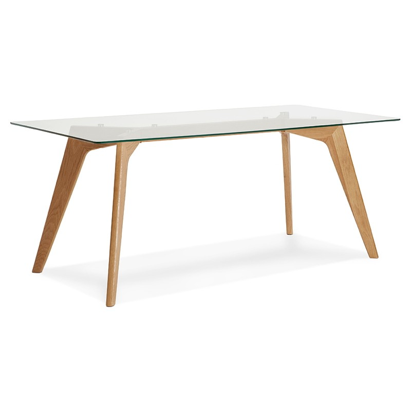 Table à manger design scandinave APOLINE en verre (90x180x75cm) (transparent) - image 39566