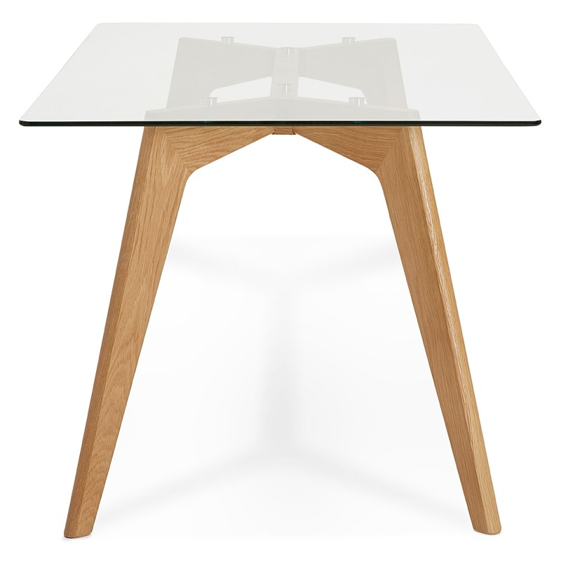Table à manger design scandinave APOLINE en verre (90x180x75cm) (transparent) - image 39568