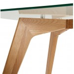 Comedor diseño de vidrio APOLINE escandinavo (90x180x75cm) (transparente)
