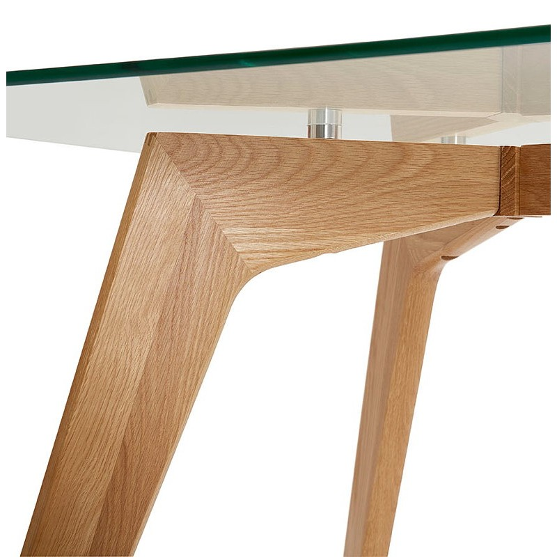Table à manger design scandinave APOLINE en verre (90x180x75cm) (transparent) - image 39574