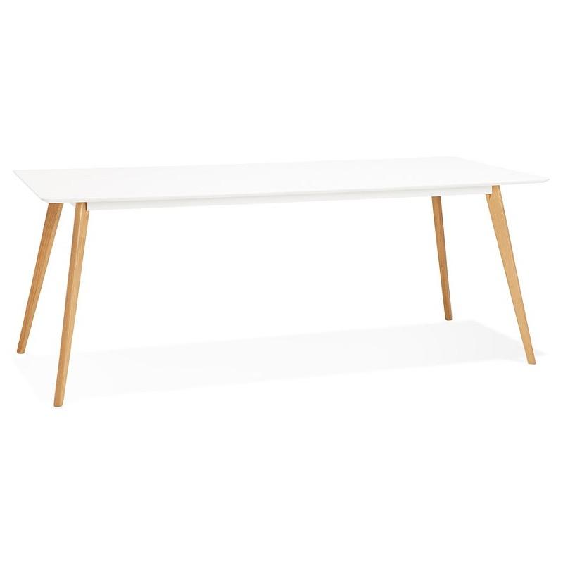 Table à manger design scandinave CLEMENTINE en bois (200x90x75 cm) (blanc)