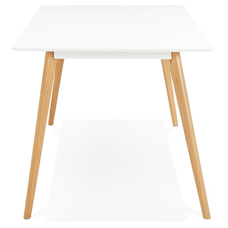 Table à manger design scandinave CLEMENTINE en bois (200x90x75 cm) (blanc) - image 39586