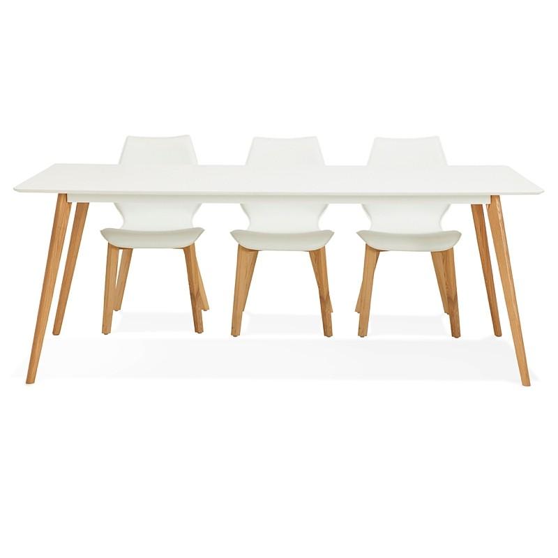 Table à manger design scandinave CLEMENTINE en bois (200x90x75 cm) (blanc) - image 39596