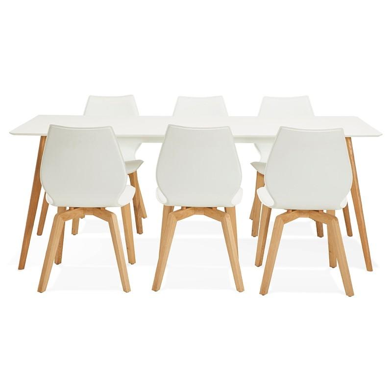 Table à manger design scandinave CLEMENTINE en bois (200x90x75 cm) (blanc) - image 39597