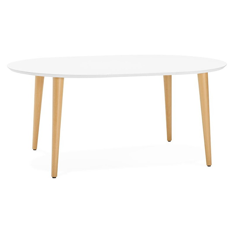 Round dining table Scandinavian to extensions (Ø 120 cm) OLIVIA (120-220 x 120 x 75 cm) wooden (matte white) - image 39603