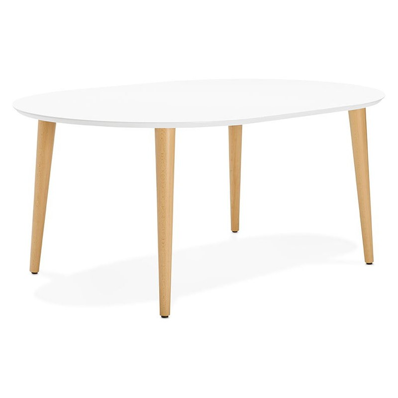 Round dining table Scandinavian to extensions (Ø 120 cm) OLIVIA (120-220 x 120 x 75 cm) wooden (matte white) - image 39606