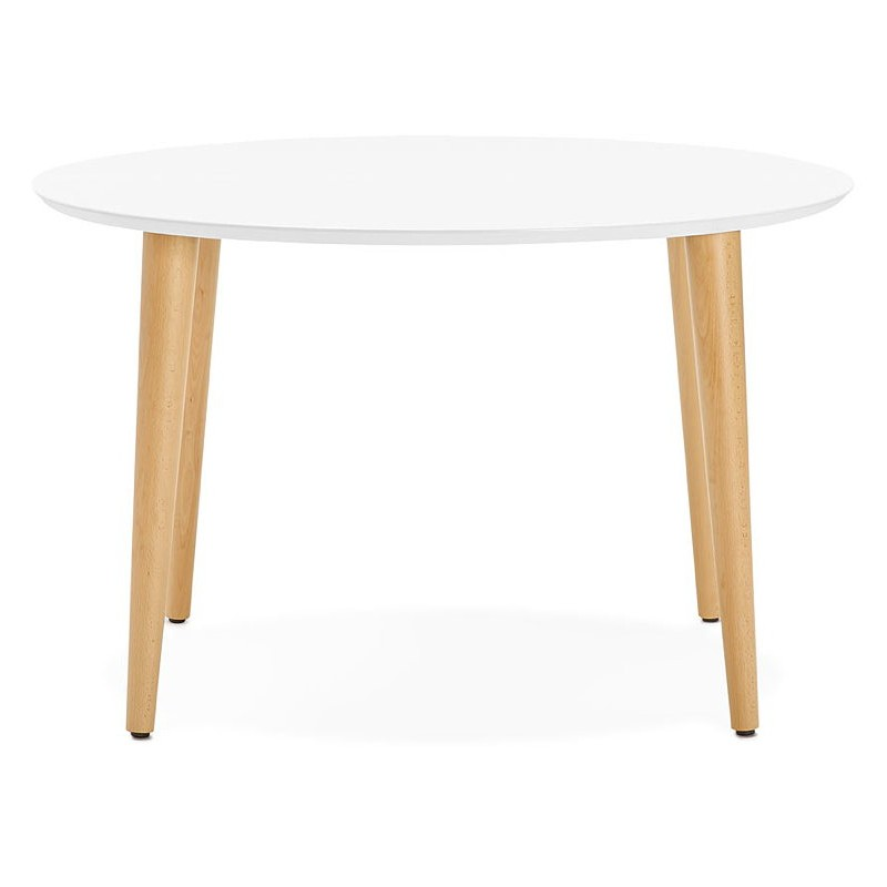 Round dining table Scandinavian to extensions (Ø 120 cm) OLIVIA (120-220 x 120 x 75 cm) wooden (matte white) - image 39608