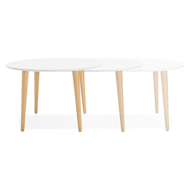 Round dining table Scandinavian to extensions (Ø 120 cm) OLIVIA (120-220 x 120 x 75 cm) wooden (matte white) - image 39610
